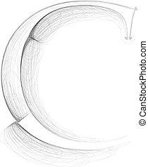 Hand draw font. LETTER C. Vector illustration