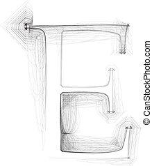 Hand draw font. LETTER E. Vector illustration