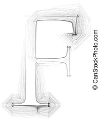 Hand draw font. LETTER F. Vector illustration
