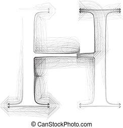 Hand draw font. LETTER H. Vector illustration