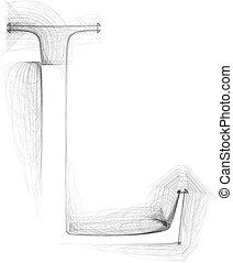 Hand draw font. LETTER L. Vector illustration