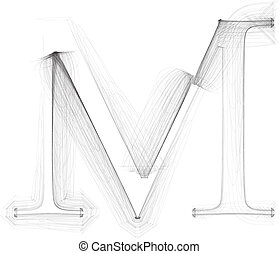 Hand draw font. LETTER M. Vector illustration