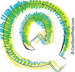 Hand draw font. LETTER Q