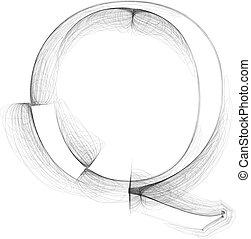 Hand draw font. LETTER Q. Vector illustration