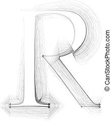 Hand draw font. LETTER R. Vector illustration