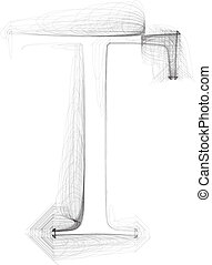 Hand draw font. LETTER T. Vector illustration