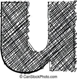 Hand draw font. LETTER u
