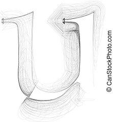 Hand draw font. LETTER u. Vector illustration