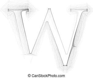 Hand draw font. LETTER W. Vector illustration