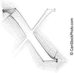 Hand draw font. LETTER x. Vector illustration