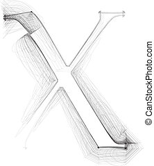 Hand draw font. LETTER X. Vector illustration