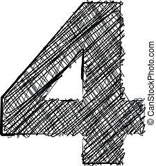 Hand draw font. NUMBER 4. Vector illustration