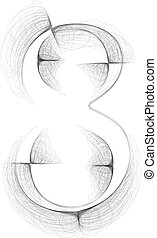 Hand draw font. NUMBER 8. Vector illustration