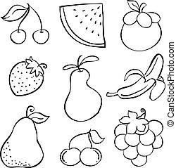 Hand Draw Vegetable Fruit Doodles Vector Art