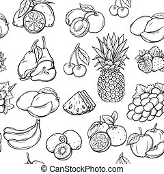 Hand draw fruits pattern.