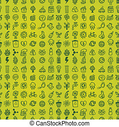 hand draw green eco seamless pattern