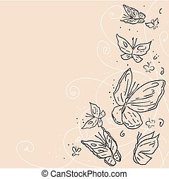 Hand draw grunge butterfly. Abstract vector background.