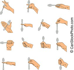Hand draw. Hands with fork.
