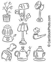 hand draw home appliances cartoon i