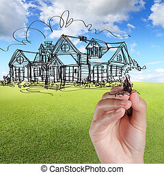 hand draw house against blue sky and green grass