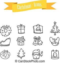 Hand draw icon Christmas set