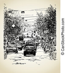 city traffic composition - hand draw line art city traffic...