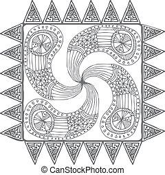 Hand draw line art ornate design