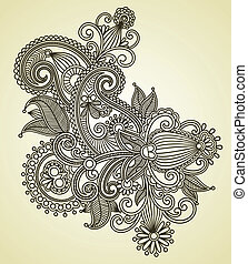 line art ornate flower design