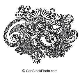 Hand draw line art ornate flower design. Ukrainian traditional style