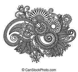 line art ornate flower design - Hand draw line art ornate ...