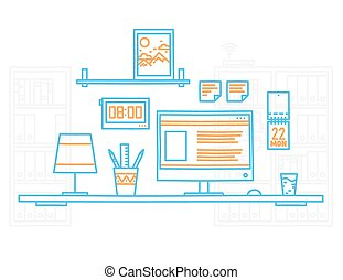 Hand draw modern office interior designer workplace with desktop minimalistic style.
