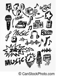 hand draw music element  - hand draw music element