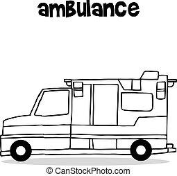 Hand draw of ambulance car