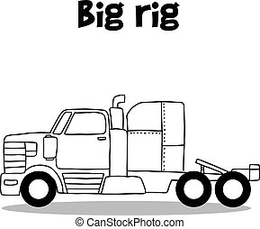 Hand draw of big rig transportation