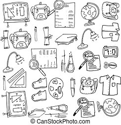 Hand draw of doodles collection school