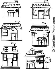 Hand draw of house set various