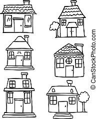Hand draw of house various set
