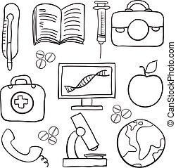 Hand draw of medical doodle set