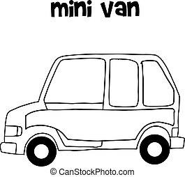 Hand draw of mini van