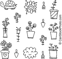 Hand draw of spring doodle set