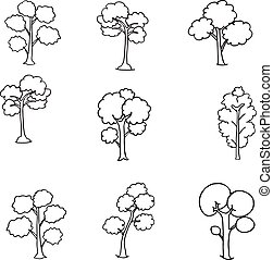 Hand draw of tree set doodle
