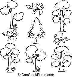 Hand draw of tree set doodles