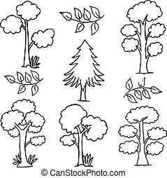 Hand draw of tree set doodles