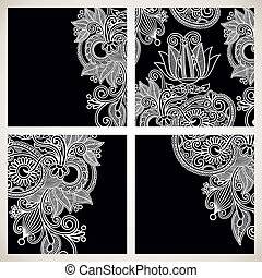 set of black and white floral pattern