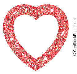 hand draw ornate Valentin Day card with heart
