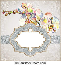 vintage template with watercolor orchid flower - hand draw...