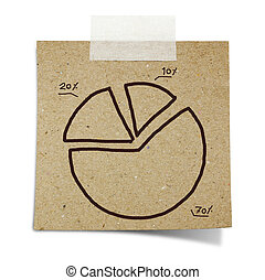 hand draw pie chart graph on note taped recycle paper