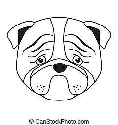 hand draw sad face dog
