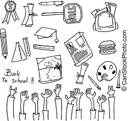Hand draw school collection doodles