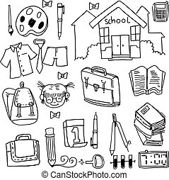 Hand draw school doodles collection